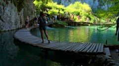 Wooden path in National Park in Plitvice Stock Footage