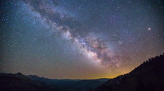 Time Lapse - Milky Way Over Mountain Range in  Yosemite National Park - stock footage