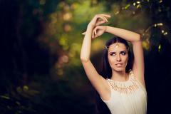Beautiful Fairy Princess Girl in Summer Fantasy Landscape Stock Photos