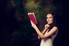 Fairy Princess Girl Reading Story Book Stock Photos