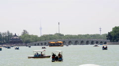 Seventeen Arches Bridge of  Summer Palace Stock Footage