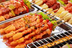 Bar-B-Q or BBQ grill of meat skewers Kuvituskuvat