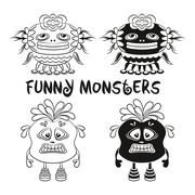 Contour and Silhouette Monsters Set - stock illustration