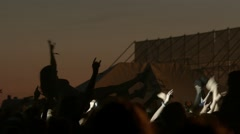 Crowd of fans on music festival Stock Footage