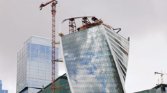 The Top of Moscow City Buildings. High-Rise Buildings Construction. Stock Footage