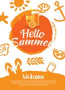 Hello summer beach party poster background template Piirros