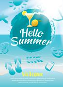 hello summer beach party poster background template - stock illustration