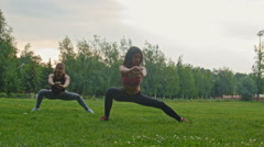 Young sport women doing squats - flexible exercising in the park, dolly shot - stock footage
