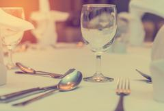 Elegance of glasses on table set up for dinning room - stock photo