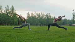 Young sport women doing flexible exercising in the park, wide shot, dolly shot Stock Footage