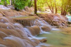 Waterfall in rain forest (Tad Sae Waterfalls at Luang prabang, Laos) Stock Photos