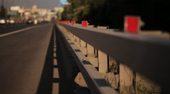 The daily city traffic. The side of the highway. Stock Footage