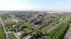 Large industrial factory outside the city Stock Footage