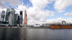 View of the Moscow City With Waterfront. Water Flow. High-Rise Buildings. Stock Footage