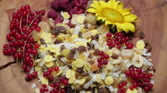 Different types of fresh and dried fruit, rotating Stock Footage