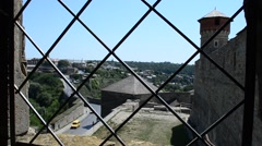 Fortress view from the window, lattice. - stock footage