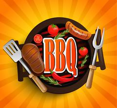 BBQ Grill elements. Vector. Piirros