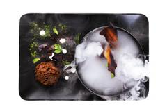 Molecular Cuisine. Culinary abstraction. Stock Photos