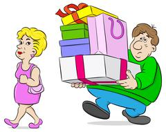 man carrying shopping bags his wife - stock illustration