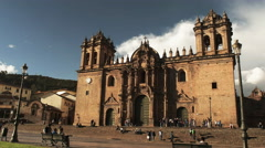 Afternoon view of the cathedral of cusco Stock Footage