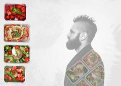 Healthy food take away in boxes and man portrait Stock Photos