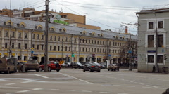 Many Cars Go, Buildings, Area Place, Taxi. Roadway in the City. Traffic in the - stock footage