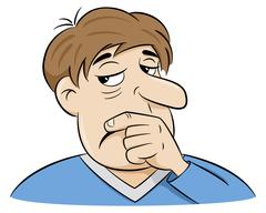 Cartoon of a pensive man Stock Illustration