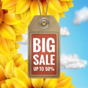 Sunflower with blue sky - autumn sale. EPS 10 Piirros