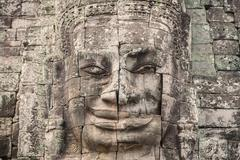 Bayon Castle or Prasat Bayon Khmer temple at Angkor in siem reap Cambodia Stock Photos