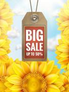 Sunflower with blue sky - autumn sale. EPS 10 Stock Illustration