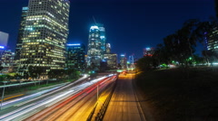 4K Hyperlapse of the 110 freeway traffic at night Stock Footage