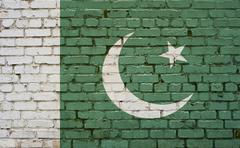 Flag of Pakistan painted on brick wall, background texture Stock Photos
