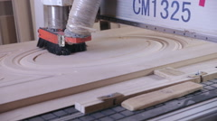 Woodworking mechanism. Wooden doors production automated line - stock footage