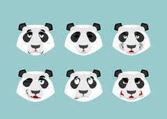 Panda emotion. Set expressions avatar Chinese bear. Animal good and evil. Bea Stock Illustration
