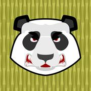 Panda angry. Furious Chinese bear. Animal furious. Aggressive wild beast Stock Illustration