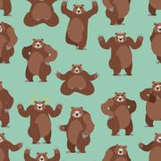 Bear seamless pattern. Grizzly ornament. Set wild animal. Forest animal with  Stock Illustration