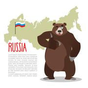 Russian Bear and Russian map. Wild animal showing thumbs up and winking. Good Stock Illustration