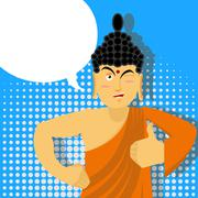 Buddha Thumbs up in pop art style. Indian god. Sign all right. Hand showing o - stock illustration