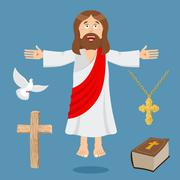 Jesus and accessories. Holy biblical set. Son of God and Bible. ?ross and whi Piirros