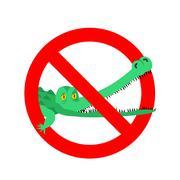 Stop crocodile. Prohibited alligator. Strikethrough caiman. Emblem against pr Stock Illustration