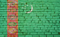 Flag of Turkmenistan painted on brick wall, background texture Stock Photos