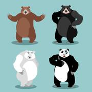 Bears set Breed. Grizzly and panda. American black bear baribal. Polar. Diffe Stock Illustration