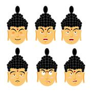 Emotions buddha. Set expressions avatar Indian god. Good and evil. Discourage - stock illustration