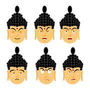 Emotions buddha. Set expressions avatar Indian god. Good and evil. Discourage Stock Illustration
