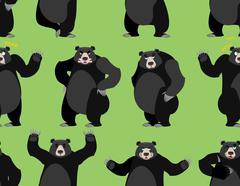 Baribal seamless pattern. American black bear ornament. Set a wild animal. Fo Stock Illustration