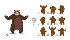 Find correct shadow. Childrens test. Big good bear. Kids educational rebus ga - stock illustration