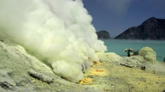 Kawah Ijen vulcano, Java, Indonesia Stock Footage