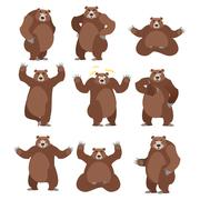 Bear set on white background. Grizzly various poses. Expression of emotions.  Stock Illustration