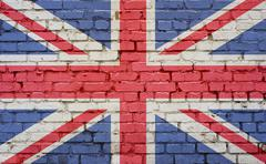 Flag of United Kingdom painted on brick wall, background texture - stock photo