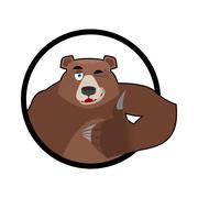 Bear thumbs up and winks. all well Grizzlies. Signs all right. Hand showing o - stock illustration